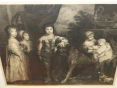AFTER VAN DYCK. A FAMILY PORTRAIT PRINT. 65 x 82cms.