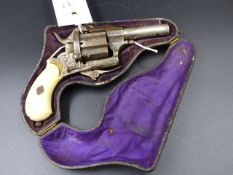 A 19TH C. PINFIRE REVOLVER IN ORIGINAL POCKET CARRYING CASE