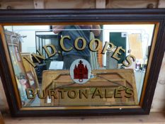 AN IND COOPE'S BURTON ALES ADVERTISING MIRROR IN OAK FRAME. 90 x 57cms.