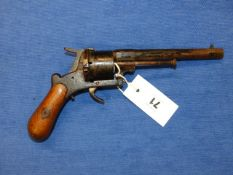 A 19th.C.PINFIRE 32 CALIBER REVOLVER. (NO CERTIFICATE REQUIRED)