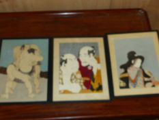 THREE WATERCOLOURS OF JAPANESE FIGURES, MOUNTED UNDER GLASS BUT UNFRAMED. LARGEST. 27 x 19cms.