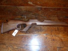 AN UNKNOWN AMERICAN WALNUT THUMBHOLE TYPE AIR RIFLE STOCK, probably weihrauch hw100