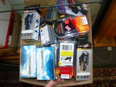 TWO LARGE BOXES OF NOS AIR GUN AND TELESCOPE ACCESSORIES, ETC.