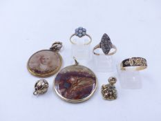 A COLLECTION OF EARLY JEWELLERY TO INCLUDE AN 18ct STAMPED OPAL CLUSTER RING, A 9ct STAMPED