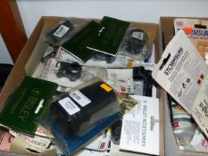 TWO LARGE BOXES OF NOS AIR RIFLE AND SIGHT ACCESSORIES,ETC.