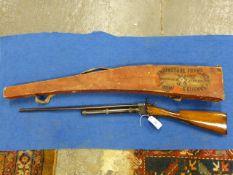 A RARE GIFFARD 8mm GAS GUN, ROUND BARREL WITH GOLD INSERT STE-STEPHANOISE D'ARMS-ST.ETIENNE,