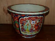 AN UNUSUAL JAPANESE IMARI JARDINIERE WITH RELIEF FIGURAL PANELS, RIBBED FORM WITH TYPICAL