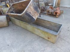 TWO LARGE GALVANISED TROUGHS. LARGEST. 184 x 47cms