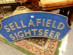 AN INTERESTING AND POSSIBLY UNIQUE ALLOY TRAIN ENGINE NAME PLATE FOR THE SELLAFIELD SIGHTSEER. W.