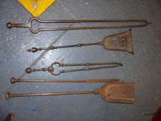 VARIOUS 19th.C.FIRE IRONS.