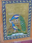TWO INDO PERSIAN ILLUMINATED MINIATURES OF PEACOCKS, EACH BRIGHTLY COLOURED ON GOLD BACKGROUNDS.