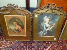 TWO COLOUR PRINTS OF LADIES MOUNTED IN FRENCH ARCH TOP NEO CLASSICAL STYLE FRAMES. OVERALL 56 x