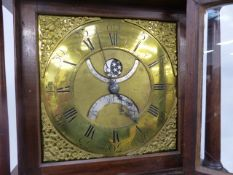 AN 18th.C.30 HOUR LONGCASE CLOCK WITH 28cms BRASS DIAL, SUBSIDARY SILVERED PENNY MOON PHASE, LUNAR