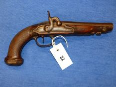 A 19th.C.PERCUSSION PISTOL, UNSIGNED OCTAGONAL BARREL, CHEQUERED GRIP AND OCTAGONAL STEEL BUTT CAP.