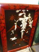 A JAPANESE LACQUER PANEL WITH BONE AND IVORY INLAY OF WISTERIA, BIRDS AND INSECTS. OVERALL 72 x