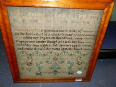 AN EARLY 19th.C. NEEDLEWORK ALPHABET AND VERSE SAMPLER BY CATHARINE HERBERT DATED 1831 IN A MAPLE