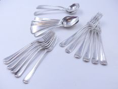 A PART SET OF 19th CENTURY SILVER HALLMARKED CUTLERY VARIOUSLY DATED 1811,1820, 1830 AND 1846. GROSS