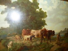 19th.C. CONTINENTAL SCHOOL. CATTLE AND GOATS ON A BRIDGE SIGNED INDISTINCTLY, OIL ON CANVAS. 63 x