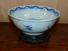 A LARGE JAPANESE FLARED FORM IMARI VASE WITH RIBBED BODY, H.63cms TOGETHER WITH A CHINESE BLUE AND