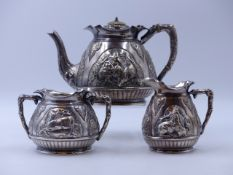 A VICTORIAN SILVER HALLMARKED THREE PIECE TEA SET, DATED 1893 LONDON, FOR CHARLES EDWARDS, WITH A