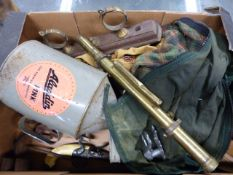 A COLLECTION TO INCLUDE CARTRIDGE BELT, ANTIQUE GUN WALL CLAMPS, A BRASS SIGHT, REPLICA PISTOLS,ETC.