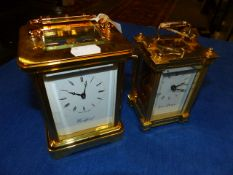 TWO 20th.C.GILT BRASS CASED CARRIAGE CLOCKS, ONE BY WOODFORD AND THE OTHER BY JENS OLSEN.
