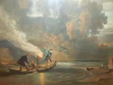 AFTER WILLIAM SIMSON. (1800-1847) SALMON SPEARING BY TORCHLIGHT ON THE TWEED, A HAND COLOURED