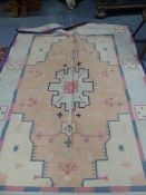 AN INDIAN DHURRIE CARPET. 267 x 187cms.