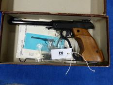 A WALTHER LP3 MATCH .177 AIR PISTOL, SERIAL No.44438 COMPLETE WITH MATCHING BOX AND INSTRUCTIONS.