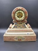 A 19th.C.SATSUMA DECORATED JAPANESE POTTERY CLOCK CASE WITH LATE VICTORIAN STRIKING MOVEMENT.