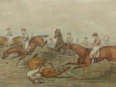 H.ALKEN. (19th.C.ENGLISH SCHOOL) TAKING THE JUMP, SIGNED AND DATED 1821, PENCIL AND WATERCOLOUR WITH