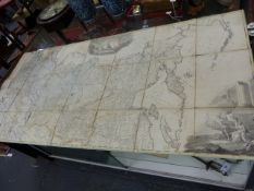 MAP: A LARGE RUSSIAN HAND COLOURED 18th.C.FOLDING MAP ENTITLED IMPERIAL RUSSIA AND DATED 1787, LINEN
