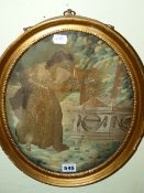 A LATE GEORGIAN OVAL SILKWORK PANEL COMMEMORATING SHAKESPEARE, A MAIDEN BESIDE A TOMB. 32 x 25cms.