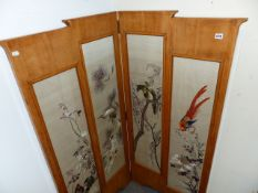 AN ART DECO SATIN WALNUT TWO FOLD SCREEN INSET WITH ORIENTAL SILK EMBROIDERED PANELS.