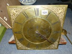 A 19th.C.SINGLE FUSEE CLOCK MOVEMENT LATER MATCHED TO AN 18th.C.BRASS CLOCK DIAL SIGNED THS.PINFOLD,