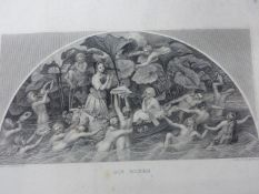 AN INTERESTING 19th.C.LEATHER BOUND CONTINENTAL ALBUM OF WATERCOLOURS, PRINTS AND DRAWINGS WITH AN