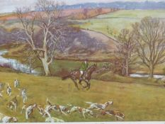 LIONEL EDWARDS (1878-1966) A HUNT SCENE INSCRIBED AND SIGNED BY VARIOUS HUNTERS AND EDWARDS, A