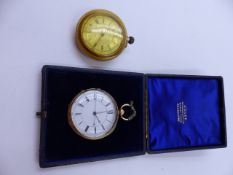 A VICTORIAN 18ct GOLD OPEN FACED, CASED POCKET WATCH, DATED 1875, CHESTER. TOGETHER WITH A FURTHER