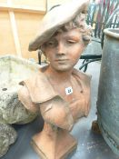 A CLASSICAL FRENCH STYLE TERRACOTTA BUST. H.61cms.
