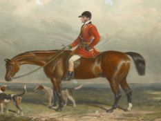 TWO MAPLE FRAMED HAND COLOURED SPORTING PRINTS, MR.WILL LONG ON BERTHA TOGETHER WITH CHARLES DAVIS