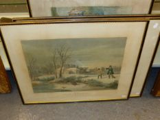 AFTER TURNER. FOUR HAND COLOURED SHOOTING PRINTS. 52 x 64cms. (4)