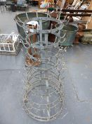 A VINTAGE GALVANISED BOTTLE DRYING RACK.