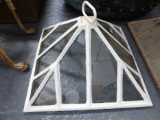 AN ANTIQUE CAST IRON FRAME GARDEN CLOCHE LATER PAINTED WHITE.