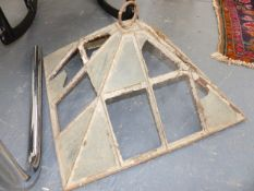 TWO ANTIQUE CAST IRON FRAME GARDEN CLOCHES TOGETHER WITH A SPARE TOP.