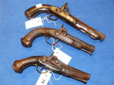 AN 18th.C.FLINTLOCK PISTOL CONVERTED TO PERCUSSION WITH SILVER AND GOLD INLAID CANNON BARREL AND