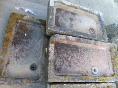 THREE ANTIQUE SHALLOW CARVED STONE SINKS. LARGEST, 81 x 51cms.