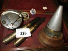 A 1915 MILITARY TYPE POCKET SEXTANT BY HEATH & Co. LONDON TOGETHER WITH MILITARY BADGES,ETC.