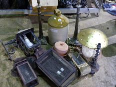 A GROUP OF VARIOUS HALL LANTERNS, THREE TABLE LAMPS, STONEWARE CROCKS, ETC.