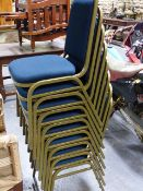 A SET OF THIRTY FOUR GOOD QUALITY METAL FRAMED BANQUETING OR CONFERENCE CHAIRS WITH BLUE