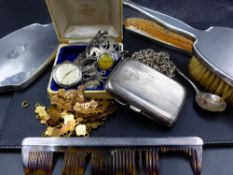 A QUANTITY OF SILVER HALLMARKED JEWELLERY AND COLLECTABLES, A SILVER CIGARETTE CASE 1919, FOR